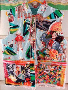 Wearable Folk Art Collage Lots of Vintage Fabrics mybonny Cannon Beach Oregon