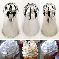 Pastry Tools 3 Piece Cake Decorating Supplies New Sphere Ball Tips Russian Icing Piping Nozzles Tips Pastry Cupcake