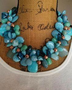 Turquoise Statement Necklace, Statement Collar, Bib Statement, Handmade Necklace