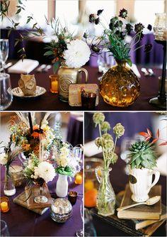 like using random little vases, milk bottles and pots for flowers on all the tables
