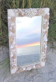 Rectangular custom white natural seashell mirror