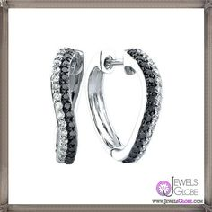Black And White Diamond Hoop Earrings