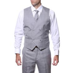 Zonettie by Ferrecci Men's Slim Fit Grey and Silver Plaid Double-breasted Vested Suit - Overstock™ Shopping - Big Discounts on Ferrecci Suits Three Piece Suit, 3 Piece, Double Breasted Vest, Suit Stores, Slim Fit Trousers, Suit Vest, Fashion Guide, Formal Looks, Suit Separates