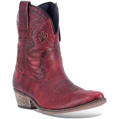 Dingo Adobe Rose Women's Distressed Western Ankle Boots ($140) ❤ liked on Polyvore featuring shoes, boots, ankle booties, dark red, leather booties, pointed toe booties, pointy-toe ankle boots, cowgirl boots and pointed-toe ankle boots