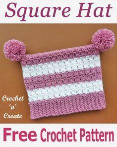 Crochet Square Hat - Winter things to do - Crochet Square Hat Crochet square hat, FREE crochet pattern, Crochet Baby Mittens, Crochet Beanie Pattern, Diy Crochet, Crochet Crafts, Diy Crafts, Booties Crochet, Crochet Designs, Crochet Patterns, Granny Square Crochet Pattern