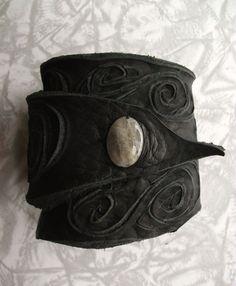 Black Leather Wrist Cuff w/ Swirls by TreadLightGear on Etsy, $20.00