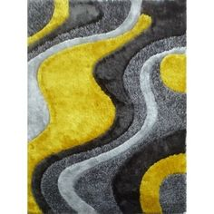 Shop for Abstract Art Sunrise Design Yellow/Silver/Grey Shag Area Rug (5' x 7'). Get free shipping at Overstock.com - Your Online Home Decor Outlet Store! Get 5% in rewards with Club O! - 18945552