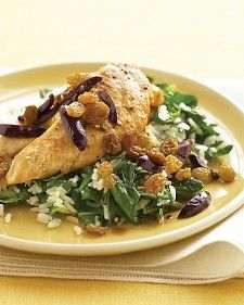 chicken with olives, raisins and spinach rice