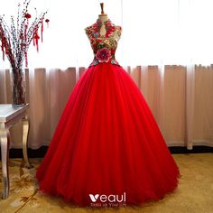 Chinese style Transparent Red Prom Dresses 2019 A-Line / Princess High Neck Beading Sequins Crystal Lace Appliques Sleeveless Floor-Length / Long Formal Dresses Red Ball Gowns, Ball Gowns Prom, Wedding Gowns, Prom Dresses, Formal Dresses, African Fashion Dresses, African Dress, African Traditional Wedding Dress, African Wedding Attire