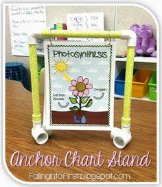 Anchor chart stand DIY for letter-sized charts at small group! Under $8 without decorative tape.
