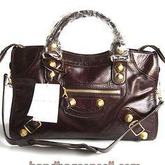 Balenciaga handbags|discount Balenciaga handbags|Balenciaga Giant City Gold Studs Bag Dark Coffee 084332B