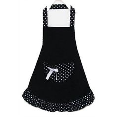 Cotton polka dot working chefs #kitchen cooking cook women's bib #apron #(black) ,  View more on the LINK: http://www.zeppy.io/product/gb/2/281938529140/