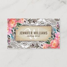 Elegant Makeup Artist Wedding Rustic Floral Business Card Salon Business Cards, Makeup Artist Business Cards, Elegant Business Cards, Business Card Design, Business Supplies, Event Planning Template, Event Planning Business, Elegant Makeup, Bussiness Card