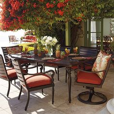 Our British Colonial Dining invites you to entertain with a unique blend of classically inspired forms that feature a generous dash of the exotic. The expansive dining table comfortably seats six and features a cast-aluminum tabletop that resembles woven rattan.