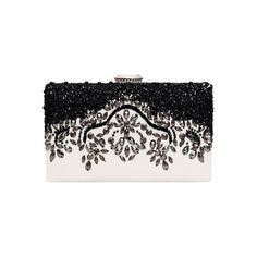SheIn(sheinside) White Bead PU Shoulder Bag ($27) ❤ liked on Polyvore featuring bags, handbags, shoulder bags, clutches, multi, white beaded purse, pu handbags, chain shoulder bag, chain handbags and chain purse