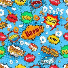 Comic Book Fabric - Pow Bang Boom By Sandityche - Comic Book Pop Art Speech Bubble Kids Cartoon Cotton Fabric By The Metre With Spoonflower Wallpapers Superheroes, Comic Boom, Comic Text, Comic Styles, Custom Fabric, Bangs, Pop Art, Cartoons, Vector Free