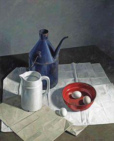 Henk Helmantel (Dutch, b. 1945), A still life with eggs, a jug and a milk churn on a table, 1970. Oil on board, 122 x 100 cm.