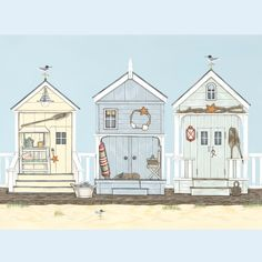 Beach Huts on the Boardwalk Signed Giclée Print, Sally Swannell