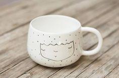 Quirky ceramic mug -  Custom purple ceramic mug for Genevieve