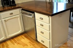 Kitchen DIY butcher block counters-you can buy these at Ikea and then stain them whatever color you like- cheap alternative to replacing counter tops.