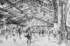Artist - Itsuo Kiritani   Title - Ueno Station(上野駅)  Dimensions - (19cm x 28.4cm)Year - 2002  Media - Pen and Ink on Paper   Exhibition - ANA InterContinental Tokyo  Nov. 9, 2015 - Feb. 9, 2016     Inquiry