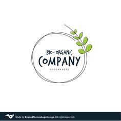 Green Leafs Wreath Premade Logo Design Organic by BVLogoDesign
