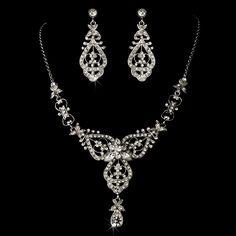 Modern Vintage Silver Wedding Jewelry Set