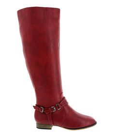 Take a look at this Machi Footwear Red Ankle Buckle Carison Boot on zulily today!