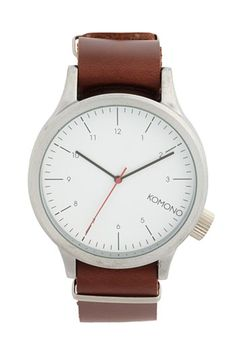 Komono 'Magnus' Round Dial Leather Strap Watch, 46mm available at #Nordstrom