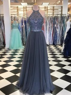 Chic Silver Tulle Prom Dress Beading Beautiful Long Prom Dress Get 2018 vintage Prom Dresses, cheap a line Prom Dresses,fashion cheap long Prom Dresses which can be customized in various styles, size, colors at demidress com Grad Dresses Long, Unique Prom Dresses, Beautiful Prom Dresses, Ball Dresses, Formal Dresses, Evening Dress Long, Evening Dresses, School Dance Dresses, Tulle Prom Dress