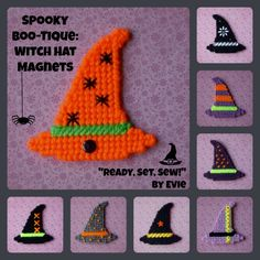 Plastic Canvas: Spooky Boo-tique -- Fashion Witch Hat Magnets (set of Plastic Canvas Coasters, Plastic Canvas Ornaments, Plastic Canvas Christmas, Plastic Canvas Crafts, Plastic Canvas Patterns, Halloween Canvas, Halloween Beads, Halloween Patterns, Halloween Projects
