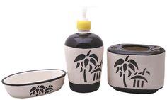 Bulk Wholesale Handmade Ceramic Bath Accessories Set (3 Items) – Hand-Painted Black & White Floral Bath Ensemble / Vanity Set