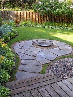 Barrington Backyard Flagstone FirePit Patio traditional patio