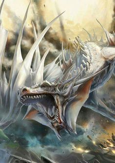 More Mystical, Mythical, Magical Board: White dragon Magical Creatures, Fantasy Creatures, Dragon Medieval, Medieval Fantasy, Cool Dragons, Dragon's Lair, Dragon Artwork, World Of Fantasy, Dragon Pictures