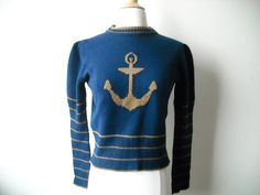 Vintage Anchor Nautical Sweater by Baxtervintage on Etsy, $32.00