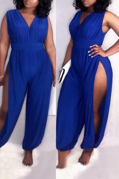 38892a801749c6 Women s V Neck Hollow-out Blue One-piece Jumpsuit. different categories  such as shyfull online retailer providing customers trendy ...