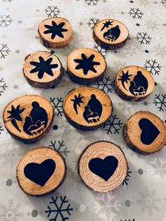 Wood painted Christmas ornaments