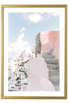 Santorini Art Print - Nara Contemporary Wall Art, Modern Art Prints, Wall Art Prints, Framed Prints, Pink Art, Pastel Art, Greece Art, Pastel Home Decor, Pastel House