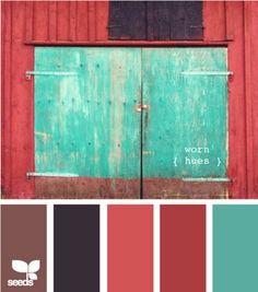 Worn hues. Brown, navy, coral, dark coral and aqua.