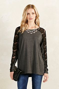 Lace Sleeve Top #anthropologie