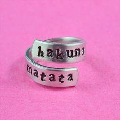 Hakuna Matata - Hand Stamped Spiral Ring
