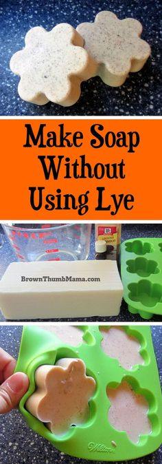 Kids Health There's an answer for us scaredy-cat soapmakers who don't want to use caustic lye when making soap! This method is easy and safe to do with Homemade Christmas Gifts, Homemade Gifts, Soap Making Supplies, Homemade Soap Recipes, Easy Recipes, Soap Molds, Lye Soap, Castile Soap, Glycerin Soap