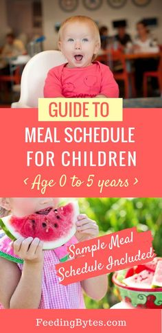 Do you know how often and how much your baby or child needs to eat throughout the day? Here's a complete guide to meal schedules for children from age 0 to 5, with sample age-based schedules and steps to transition to meal and snack structure. From Feeding Bytes