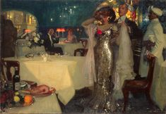 1907 Charles Hoffbauer [French-born American Painter, 1875-1957] ~ In the Restaurant
