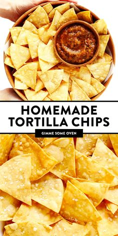 This homemade tortilla chips recipe is easy to make with 3 basic ingredients (corn tortillas, oil and salt) and always SO delicious! | gimmesomeoven.com #homemade #corn #tortilla #chips #glutenfree #vegan #vegetarian #appetizer #gameday #snack Homemade Tortilla Chips, Homemade Tortillas, Corn Tortillas, Best Tortilla Chips, Homemade Nachos, Appetizer Recipes, Snack Recipes, Cooking Recipes, Snacks