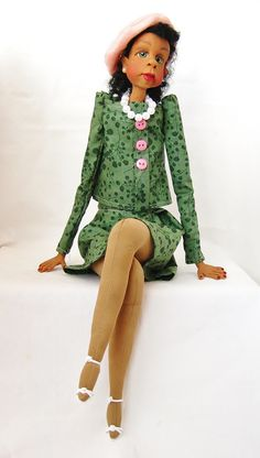 Ethnic Art Doll in Pink and Green