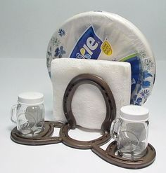 Horseshoe Napkin and Paper Plate Holder w/ Salt & Pepper Shakers By Nail It Creations on Etsy