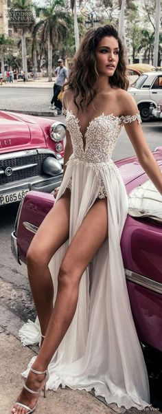 julie vino fall 2018 havana off the shoulder deep plunging sweetheart neckline heavily embellished bodice double slit skirt romantic sexy soft a line wedding dress sweep train mv -- Julie Vino Fall 2018 RECEPTION DRESS dresses tight bodice Beach Bridal Dresses, Sexy Wedding Dresses, Sexy Dresses, Prom Dresses, Formal Dresses, Bridesmaid Dresses, Dress Beach, Wedding Gowns, Modest Wedding