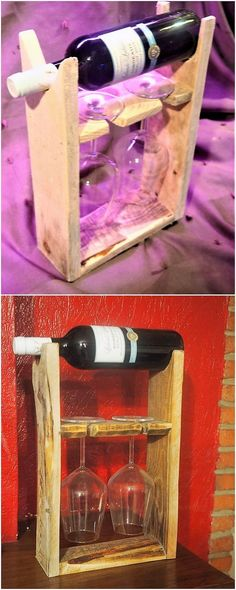 Pallet Wine Rack with Glass Holders Wine Rack Wall, Wine Glass Holder, Wine Bottle Holders, Wooden Projects, Woodworking Projects Diy, Pallet Crafts, Wood Crafts, Rustic Wine Racks, Pallet Wine