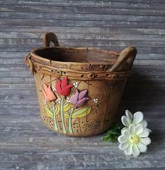 House Plants Decor, Plant Decor, Korean Pottery, Cement Art, Flower Pots, Flowers, Ceramic Clay, Cute Drawings, Needle Felting